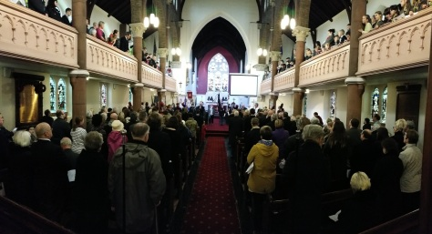 All Saints Church was packed to the rafters for the reading of names and service of Remembrance (pic Stuart Williams)