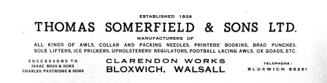 Letterhead of Somerfields of Bloxwich, circa 1930's, (courtesy Walsall Local History Centre).