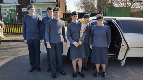 Cadets from 240 (Darlaston) Squadron ATC arrive in style and prepare to ceremonially hand over the Torch.