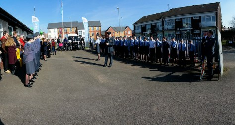 Flt Lt Ian Averill, OC of 196 (Walsall) Squadron ATC says a few words after the ceremonial handing-over of the Staffordshire Wing Air Training Corps 75th Anniversary Torch.