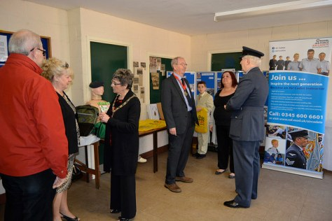 Flt Lt Ian Averill, OC of 196 (Walsall) Squadron ATC shows guests the displays in the Drill Hall at the Stokes Street, Bloxwich HQ