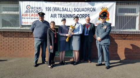 Flt Lt Steve Baker (left) of 240 (Darlaston) Squadron ATC and Flt Lt Ian Averill (right) of 196 (Walsall) Squadron ATC with the two Cadets who handed over the Torch and Deputy Mayor of Walsall Cllr Kath Phillips JP plus consort Maurice Phillips