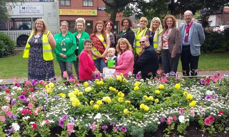 Volunteers from local groups join judges and councillors in Bloxwich Promenade Gardens