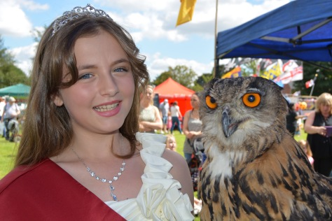 Carnival Princess Libby Robbins goes eye-to-eye with a mighty owl from Armitage Bird of Prey Centre!