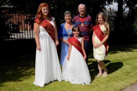 The Mayor of Walsall Cllr Kath Phillips and consort Mr Maurice Phillips meet the 2016 Bloxwich Carnival Royalty Queen Amber Rolls, Rosebud Tayla Parker and Princess Libby Robbins