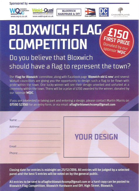 Bloxwich Flag Competition Flyer - front - click to enlarge
