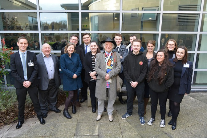 Local rock legend Noddy Holder meets the project group at Walsall Academy, Bloxwich (Pic Stuart Williams)