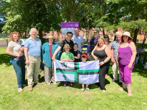 The Rotary Club of Bloxwich Phoenix previewing the flag - click to download large image