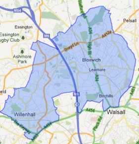 Map of the Walsall North Parliamentary Constituency
