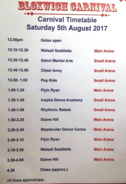 Bloxwich Carnival 2017 Arena Programme