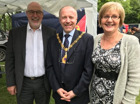 Mayor of Walsall Cllr Marco Longhi (centre), with Cllrs Sean and Diane Coughlan at Willenhall Carnival in June