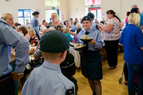 Air Cadets from the local 196 Squadron help members of Bloxwich Carnival Committee and supporters in serving partygoers