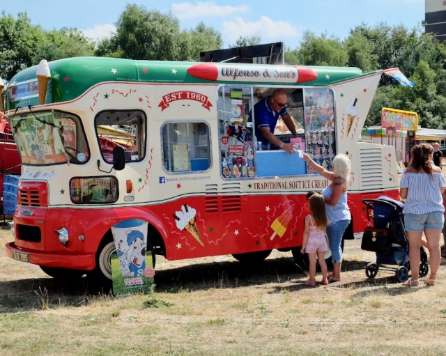 The ever-popular Alfonso Urso serves from his classic BMC ice cream van